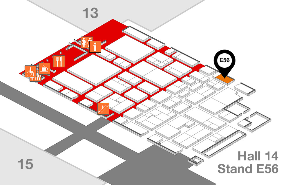 Euroshop 2020 site plan for Hall 14, Food Service Equipment - Nuttall's showcasing Flexeserve hot-holding food-to-go on stand E56