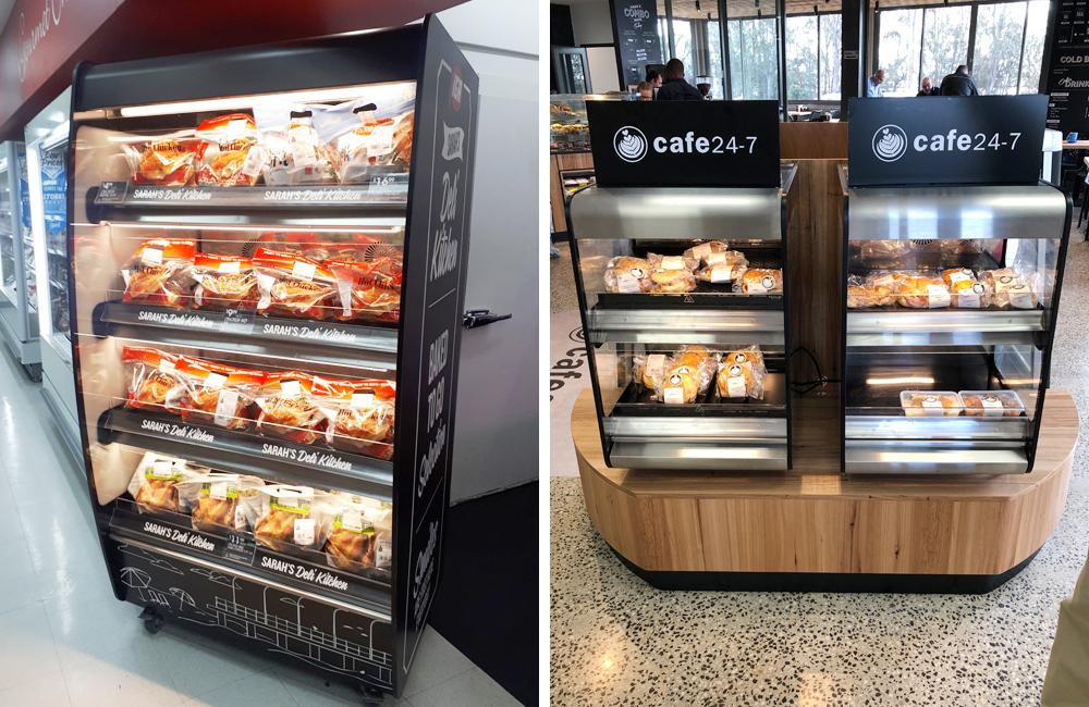 Hot grab and go Flexeserve Zone® heated displays installed in food outlets in Australia