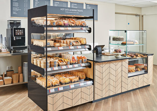 Flexeserve Zone unit in cafe providing food-to-go catering solution