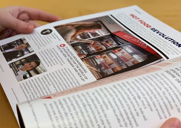 Foodservice Equipment Journal open at pages showing Flexeserve hot-holding article